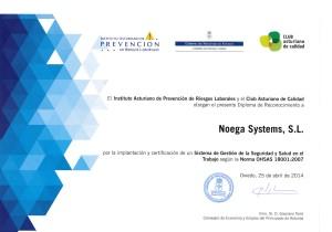 Diploma reconocimiento OHSAS 18001 - 20140425